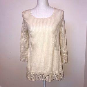 NWT Misia Cream Loose Knit Lace Long Sleeve Small